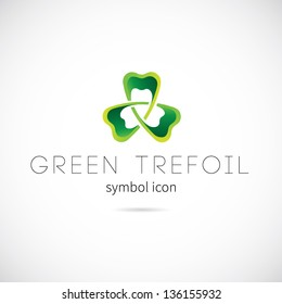 Green trefoil symbol icon or Logo Template
