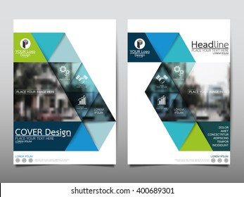 Green triangle annual report brochure flyer design template vector, Leaflet cover presentation abstract flat background, layout in A4 size