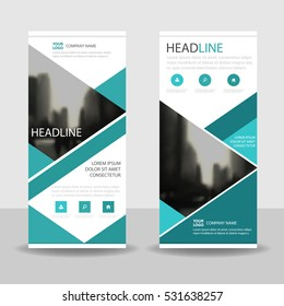 Green triangle Business Roll Up Banner flat design , Abstract Geometric banner template Vector illustration set, abstract presentation brochure flyer template