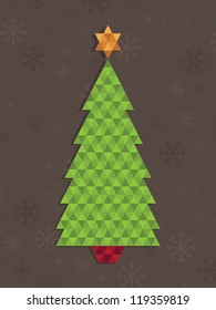 green triangle christmas tree decoration on snowflake background