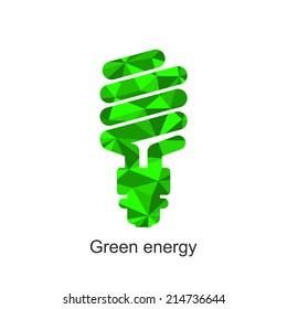 Green triangle energy saving lamp logo. Isolated on white background. Vector illustration.