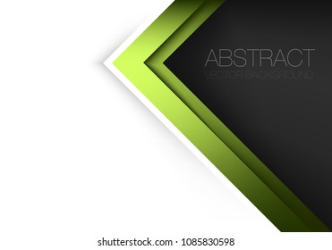 Green triangle geometric vector background overlap layer on white space and black for text and background design