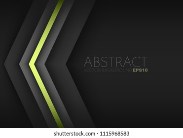 Green triangle geometric vector background overlap layer on black space for background design