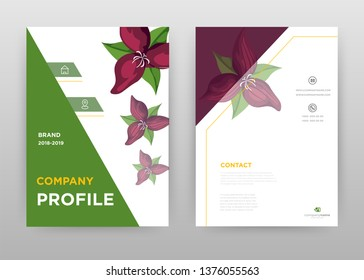 Green triangle and red flower petal with green leaves business annual report brochure flyer design. Multipurpose abstract brochure template, include cover and back pages. Flyer leaflet vector design.