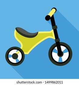 Green tricycle icon. Flat illustration of green tricycle vector icon for web design