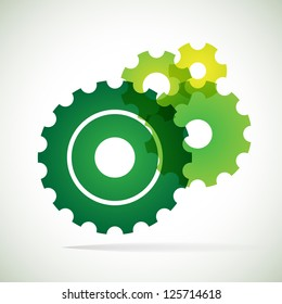 green trnsparent cogs (gears) on white background