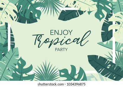 Green tropical greeting card with palm, coconut tree,hibiscus and flower