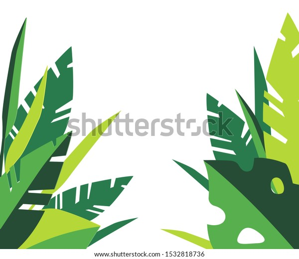 Green Tropical Leafs On White Background Stock Vector Royalty Free 1532818736