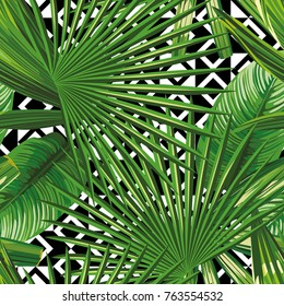 Green tropical leaves seamless on the geometric black white background