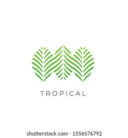Green Tropical Palm leaf logo vector design template