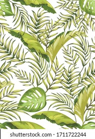 Green tropical palm leaves seamless vector pattern on white background. Trendy summer print. Exotic summer illustration.