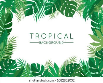 Green Tropical Summer Background with Exotic Palm Plants and Leaves. Vector Floral Illustration for Use in Design.
