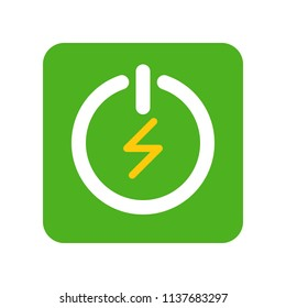 Green Turn on and turn off button, Flat icon saving energy concept