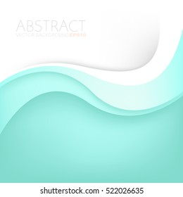 Green turquoise curve line vector background overlap paper layer with white space for text and message artwork design