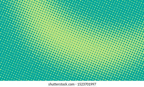 Green and turquoise pop art background with halftone dots design in retro comic style, vector illustration eps10