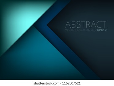 Green turquoise vector background overlap layer on blue dark space for text and background design