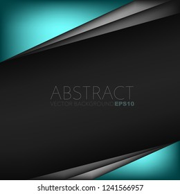 Green turquoise vector background overlap layer on black space for background design