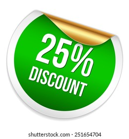 Green twenty-five percent discount sticker on white background