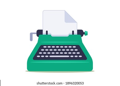 green typewriter with blank sheet of paper on white background. flat vector illustration.