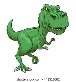Green Tyrannosaurus Rex, T-Rex, Primitive carnivore dinosaur with separate color and outline layers.
