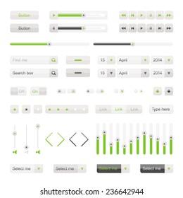 Green UI elements vector. Button, selector, ckeckbox, searchfield, slider etc. Set of website interface buttons.