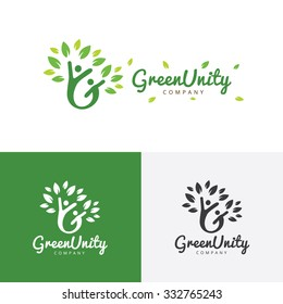 Green unity family and ecology care logo template.