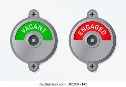Green Vacant and red Engaged round metal toilet or restroom locks with text isolated on white, eps10 vector illustration