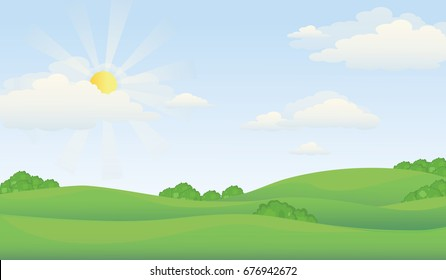 Green Valley Landscape in Summer Day.Hill Scenery with Sunlight On Cloudy Sky Vector Illustration.