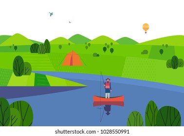 Green valley landscape. Summer season weekend vacation. Fisherman fishing on calm river water. Fishing man angling with rod in a boat on lake. Flat cartoon simple minimal style. Vector illustration
