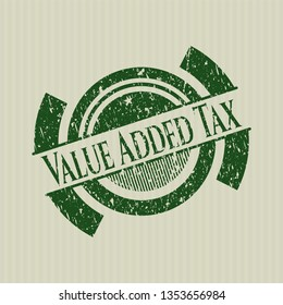 Green Value Added Tax rubber stamp with grunge texture