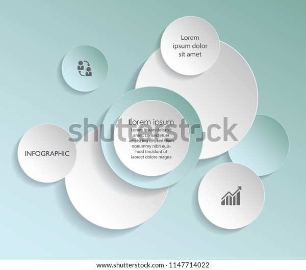 Green vector abstract 3d paper infographic elements. Circular infographics