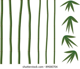 Green vector  bamboo elements.All objects are separated, the can be scaled  and moved without problems and quality loss.