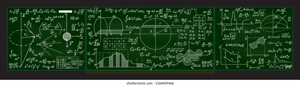Green vector blackboard with handwritten math formulas, figures and calculations