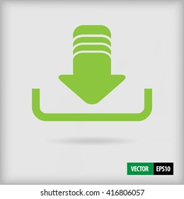 Green vector download icon for app or we browser design in flat style