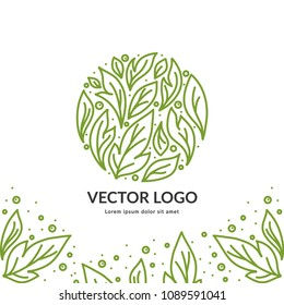 Green vector emblem. Can be used for organic products, jewelry, beauty and fashion industry. Great for logo, invitation, flyer, menu, brochure, business card, banner, background or any desired idea.