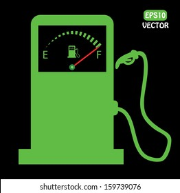 Green vector gas station icon with fuel indicator design. Abstract easy to edit vector illustration.