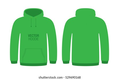 Green vector hoodie. Unisex hoodie template, isolated on background.
