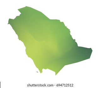 Green vector map of Saudi Arabia. Isolated illustration on white background