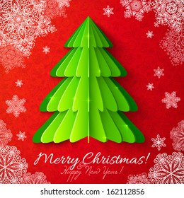 Green vector paper Christmas tree on red ornate background with snowflakes