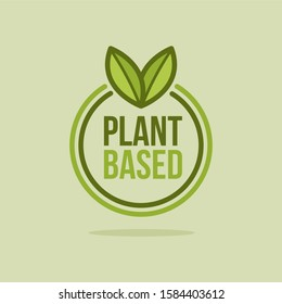 Green Vector Plant Based Icon. Illustration of Round Plant With Leafs.