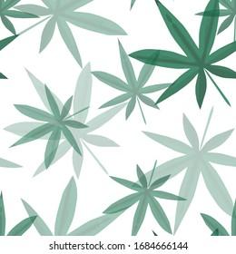 Green Vector print. Hemp seamless pattern with different leaves. Retro 70s style vector illustration. Marijuana Ganja Weed Hemp Leafs Seamless Pattern.