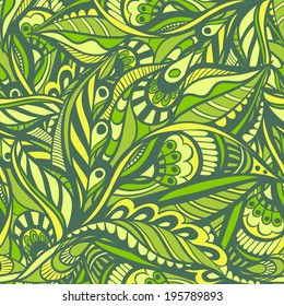 Green vector seamless pattern