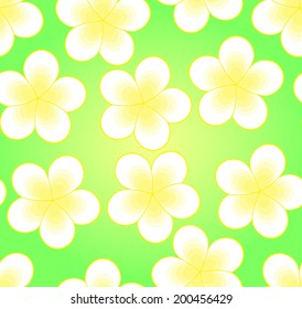 Green vector seamless pattern with frangipani flowers