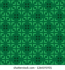 Green vector seamless pattern. Modern stylish texture with square traingle and plus. Repeating geometric. Simple graphic design.