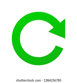 Green vector Sign of Refresh, Update and Renew isolated on white background in EPS10. Sign of round arrow symbolizing reset or repetition.