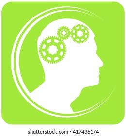 green vector silhouette of a man logo