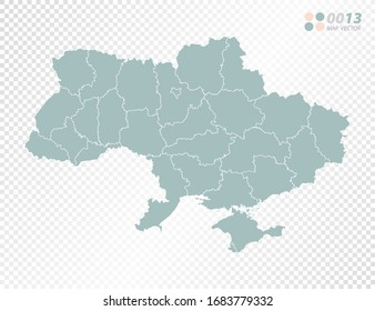 Green vector silhouette of Ukraine map on transparent background.