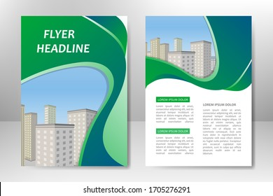Green vector template design for business brochure, flyer, poster, booklet, presentation, annual report, magazine cover, team educational training. A4
