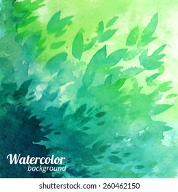 Green vector watercolor background