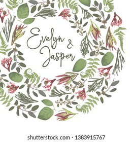 Green vector wreath frame flowers and leaves.Branches, brunia, eucalyptus, leucadendron, gaultheria, salal, jatropha. Botanical green on white background. For wedding invitations, semicircular